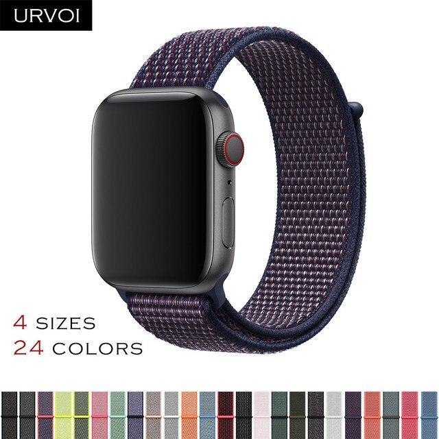 URVOI осень 2018 Спортивная петля для apple watch series 4 3 2 1 полоса светоотражающий ремешок для iwatch двухслойный тканый нейлоновый дышащий