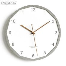 EMITDOOG 12 inch Modern Creative 3D Wooden Rustic Home Decorative Watch White Interior Wall Clock European Style
