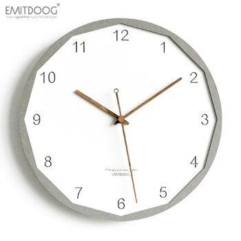 EMITDOOG 12 inch Modern Creative 3D Wooden Rustic Home Decorative Watch White Interior Wall Clock European Style