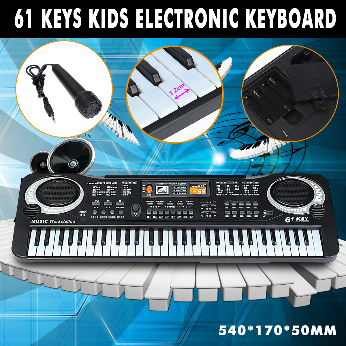 Electronic Organ Musical Toys 61 Keys Electronic Piano Keyboard With Microphone For Boys Girls Toy Gift