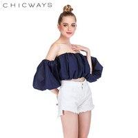 Chicways 2018 summer lantern sleeve sexy strapless beach tops plus size blue white ruched women crop tops