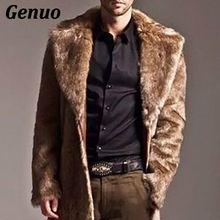 Men Fur Coat Winter Faux Jacket Outwear Punk Parka Jackets Warm Long Cardigans Overcoats Streetwear Fashion