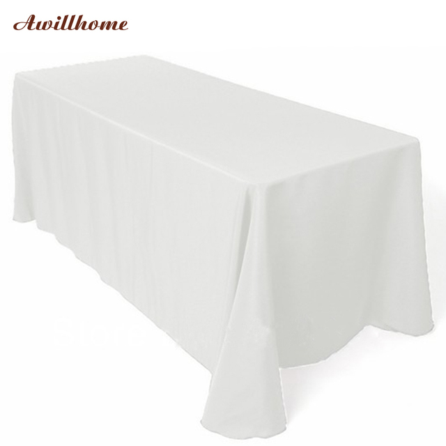 Lovely Free Shipping 10 Pcs/lot 90 Inches *132 Inches White Polyester Rectangular  Table Cloth
