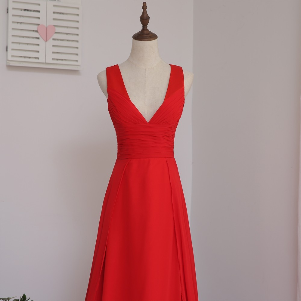 HVVLF 2018 Cheap Bridesmaid Dresses Under 50 A line Deep V neck Red Chiffon  Backless Wedding Party Dresses-in Bridesmaid Dresses from Weddings   Events  on ... 7d048f9ee2fb