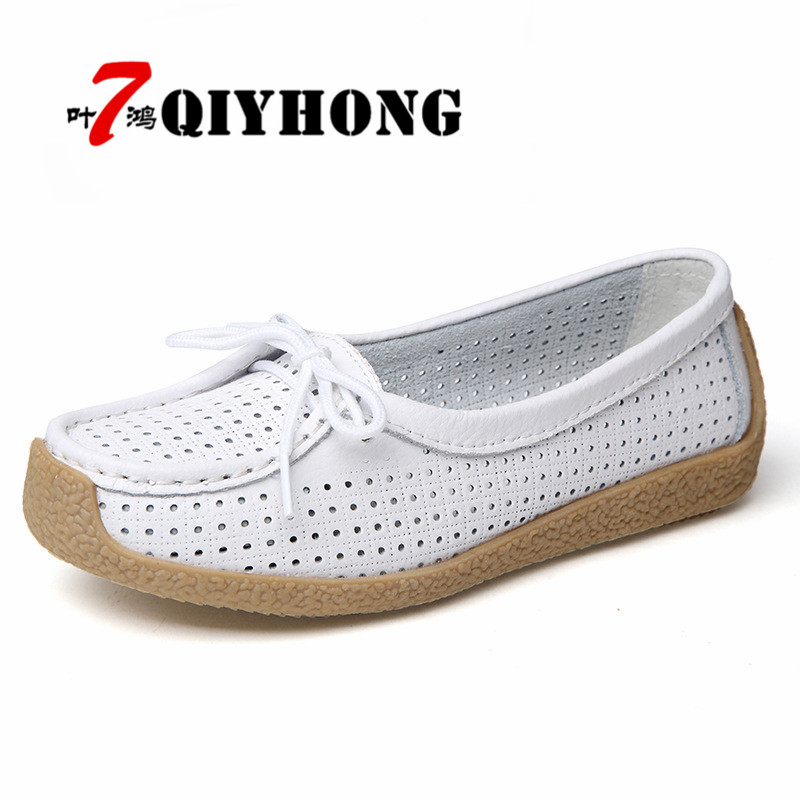 QIYHONG 2018 Summer Women Flat Shoes Women Genuine Leather Shoes Ladies Cutout Loafers Lace Up Ballet Flats Oxford Boat Shoes 2018 new genuine leather flat shoes woman ballet flats loafers cowhide flexible spring casual shoes women flats women shoes k726