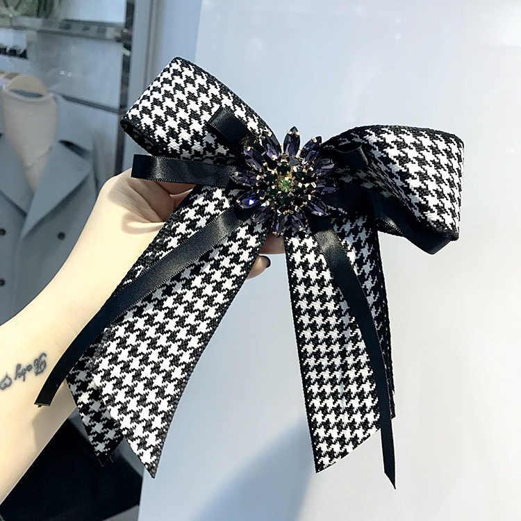Новая женская брошь большой камень клетчатая лента бант брошка из горного хрусталя Модные ювелирные изделия рубашка платье костюмы Аксессуары