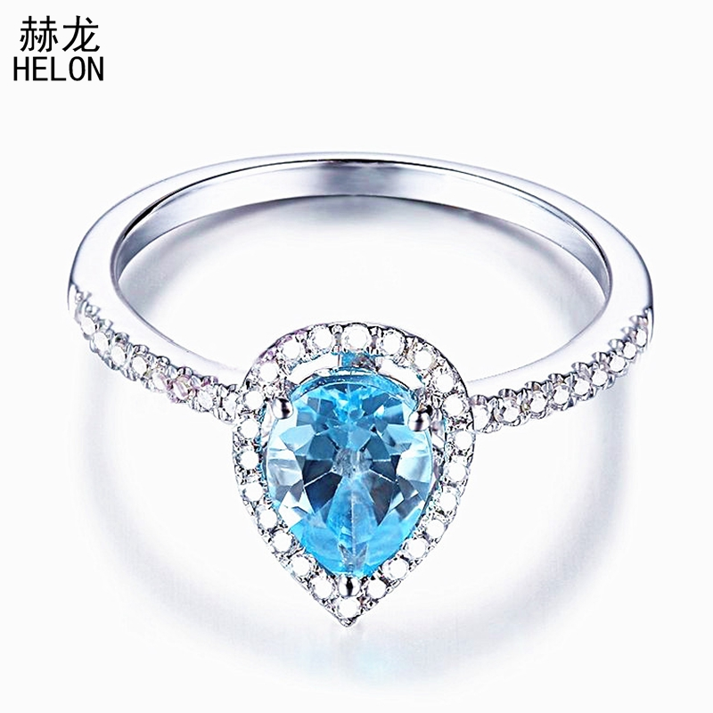 HELON Solid 14K White Gold Pear Cut 7x5mm 1CT Blue Topaz Pave Natural Diamond Ring Engagement Wedding Gemstone Fine Jewelry Ring solid 14k rose round 13mm gold diamond natural blue topaz ring wedding ring hot sale