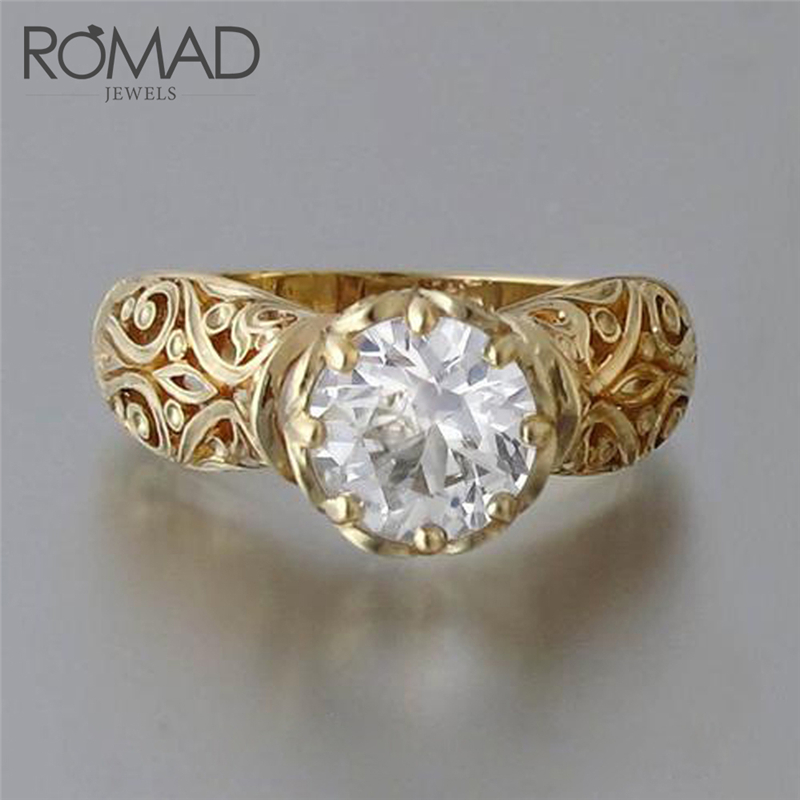 ROMAD Vintage Leaf Engagement Ring Fashion Gold Filled Wedding Rings For Women Luxury Zircon Jewelry Accessories R4