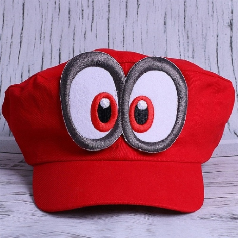 Wholesale 20 pcs New Super Mario Odyssey Game Cosplay Hat Adult Anime Baseball Caps Unisex Adjustable Big Eyes Red Hat
