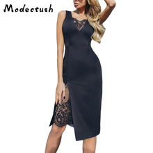 Modecrush Women Sexy V Neck Lace Slim Midi Dress 2019 Summer Vintage Sleeveless Spilt Club Party Long Tank Dresses Vestidos