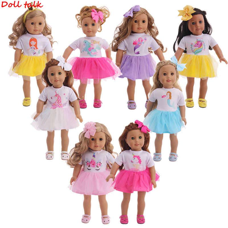 Ropa de muñeca de niña de 18 pulgadas, disfraz de sirena unicornio, falda de encaje, vestido para recién nacidos americanos, juguetes para bebés de Rebron de 43 cm