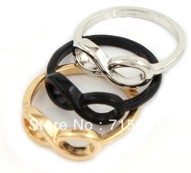 HOT!! 100pcs/lots 1D One Direction Infinity Rings Silver Gold Black plated Color Fans Girls jewelry set free shipping