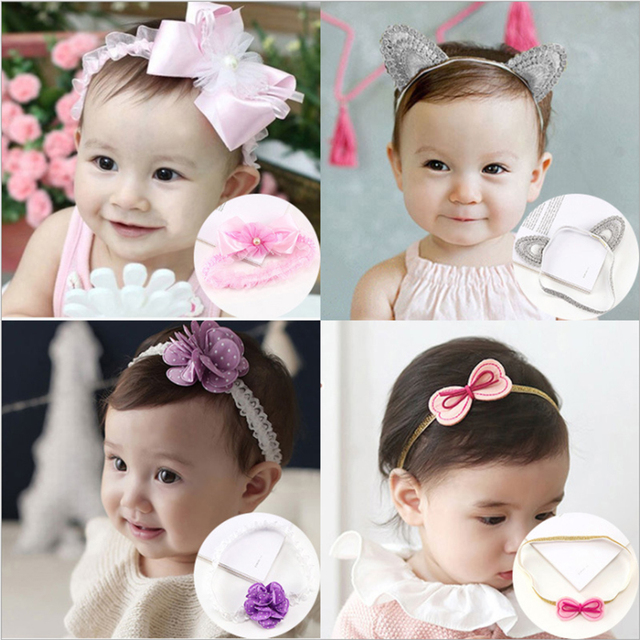 c4ee3dbc298 New Arrive Cute Baby Girl Toddler Lace Flower Hair Band Headwear Kids  Headband Accessories Y0211