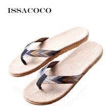купить ISSACOCO Men's Linen Flip Flops Striped Ribbon Sandals Flat EVA Non-Slip Linen Slides Home Slippers Man Casual Straw Beach Shoes дешево