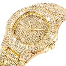 Золотые часы для мужчин, роскошный бренд, бриллианты, мужские часы, Топ бренд, Роскошные, Iced Out, Мужские кварцевые часы, календарь, уникальный подарок для мужчин