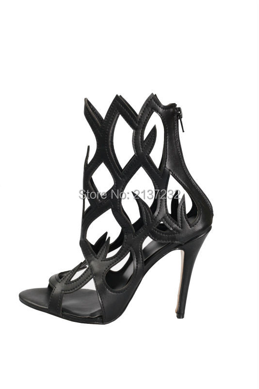 ФОТО 2016 new fashion Peep toe solid stiletto sandals cover heel cut-outs women shoe  Sky high heel fretwork party pumps big size4-15