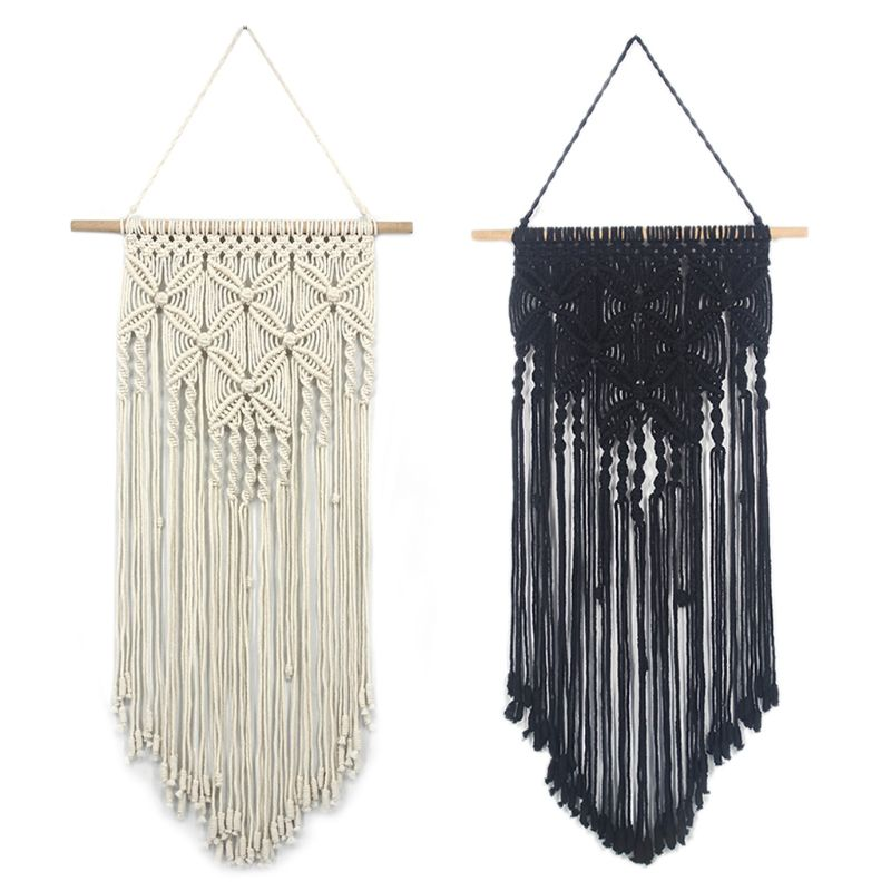 Macrame Woven Wall Hanging Tapestry Handmade Boho Chic Bohemian Art Apartment Dorm Room Home Decoration Gift Black/White