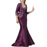 Purple Mermaid Mother Of The Bride Dress With Jacket Wedding Party Gowns Vestido De Madrinha Robe Mere De Mariee