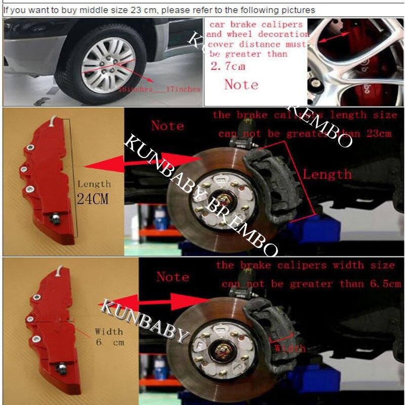 KUNBABY 4 шт. металлический тормозной суппорт крышка Модель 9 с ABS C Пластик M логотип автомобиля Стайлинг украшения Бесплатная доставка - 5