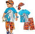 Active boys sets boy shorts Cartoon suits summer short sleeve T-shirt + plaid pants + hat 3 pieces clothing set