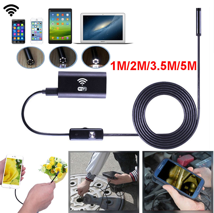 Wifi 8mm Dia 1/1.5/2/3.5/5m Length Cable Hard IOS Android PC Lens  Waterproof Iphone Endoscope Inspection Borescope Camera HD