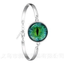 2018 New Classic Charming Green Eyes Evil Eye Bracelet Beautiful Animal Dragon Cats Eye 18mm Glass Cabochon Bangle For Friends(China)