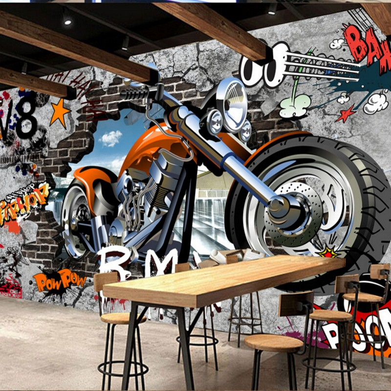 Beibehang Custom Wallpaper 3D Motorcycle Street Art Graffiti Backdrop Wallpaper Decorative Painting Wallpaper For Walls 3 D