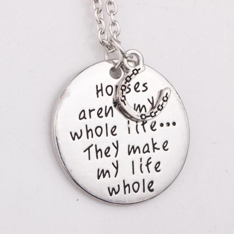 New arrive  Horses arent my whole life ...They make my life whole Horses Necklace Horses Lover Charm Pendant Necklace ...