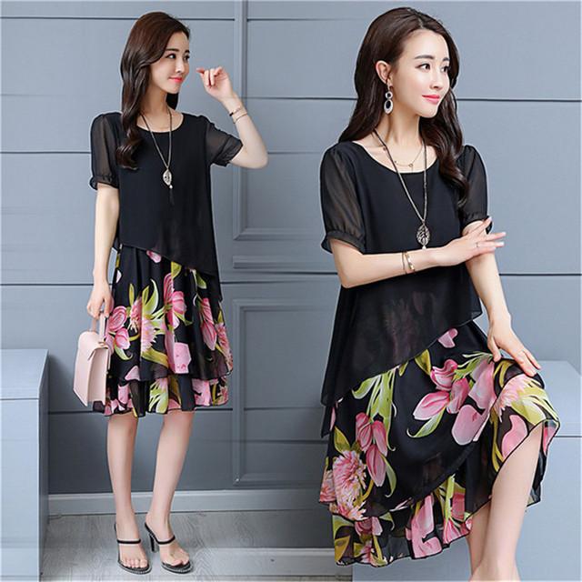 Summer Chiffon Dress  Casual Short Sleeve