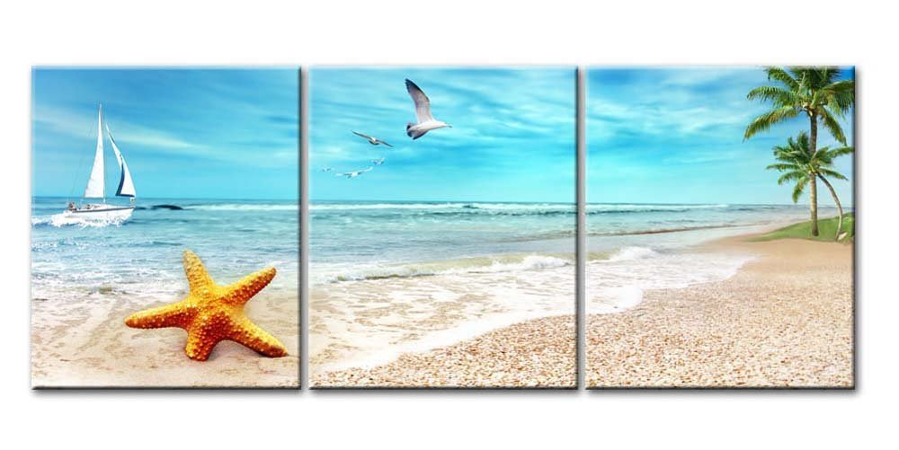 3 Pcs Set Canvas Painting Art Landscape Starfish on Beach Canvas Art Home Decoration Modular Picture for Living Room in Painting Calligraphy from Home Garden