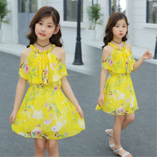 Baby Girls Chiffon Yellow Dress with Flowers New Summer Infant Princess for Clothing 4 5 7 9 11 13 T
