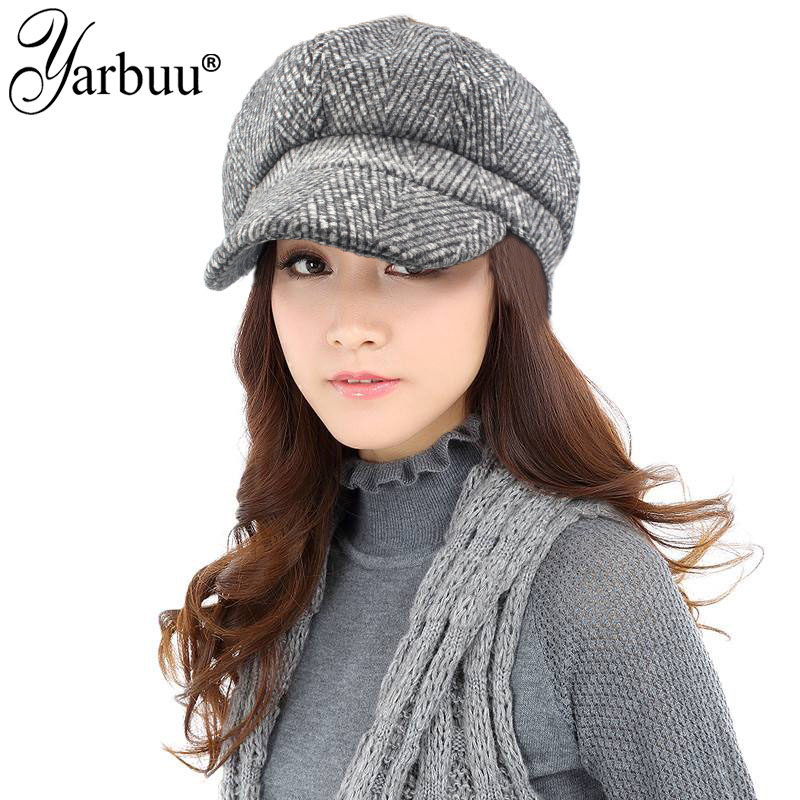 [YARBUU]Artist Wool Women Octagonal Hats For Women Cap High Quality Fashion Berets Stripe Casual Lady Caps Female Autumn Hats