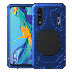 Image 1 - For Huawei P30 P30 Pro Phone Case Hard Aluminum Metal Tempered Glass Screen Protector Cover for Huawei P30 Lite Full cover