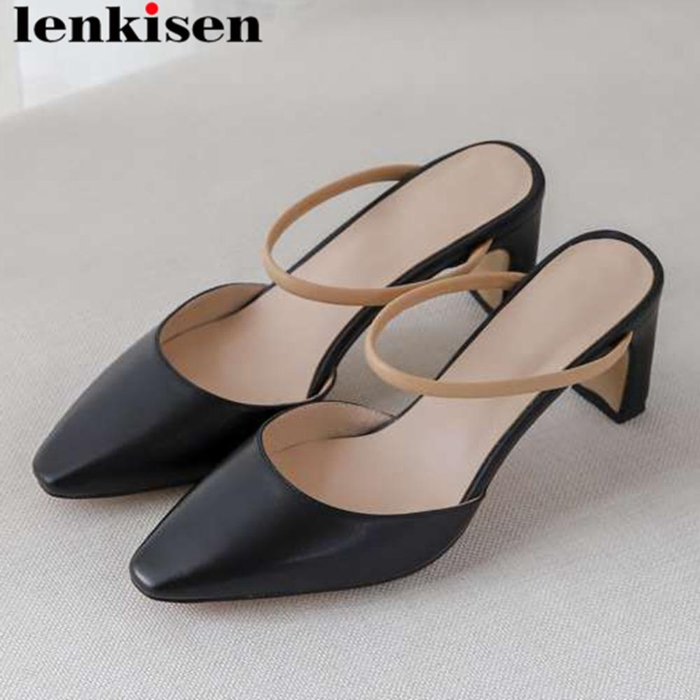 Lenkisen handmade simple style natural leather high heels slip on mules classic square toe women pumps high quality shoes L41Lenkisen handmade simple style natural leather high heels slip on mules classic square toe women pumps high quality shoes L41