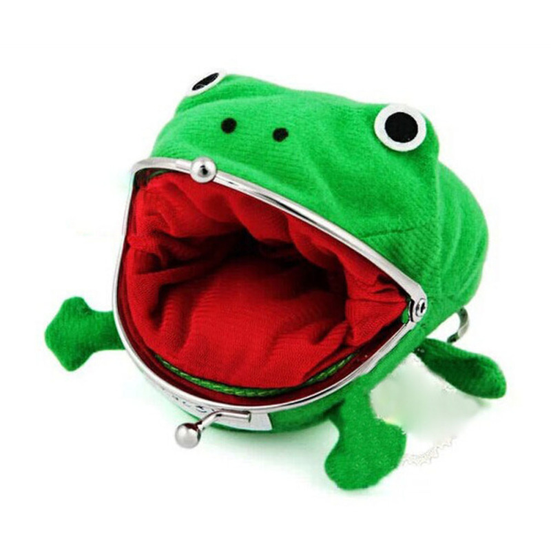 3D Cartoon Frog Coin Purse Cute Animal Style Small Wallet for Children Green Cotton Coin Pouch Change Clutch Purse kids Bag 4 cute butterfly student coin purse chinese style children canvas zip change mini purse women wallet animal key card bag kids gift