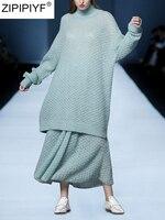 2018 Осень Зима 2 шт. наборы вязаный свитер юбка костюм до середины икры юбки и Водолазка пуловер женский свитер наборы C3273