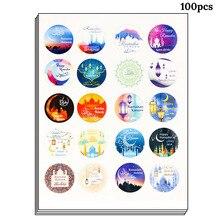100 個イードムバラク装飾紙手作りステッカーギフト可能な標識シールステッカーイスラム教徒 mubarak 装飾ラマダン用品