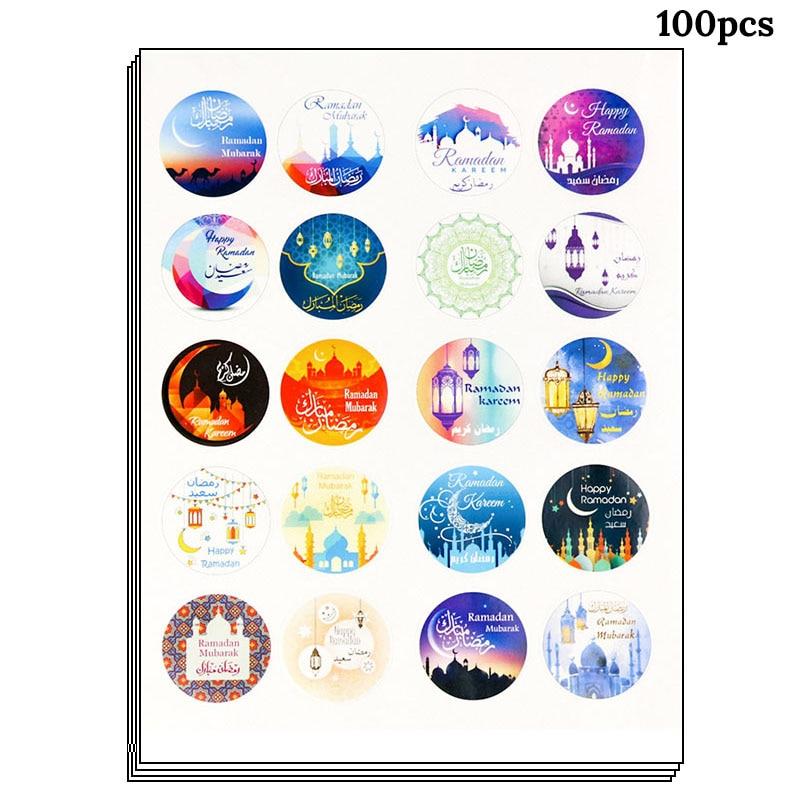 100pcs Eid Mubarak Decors  Paper Handmade Sticker Gift Lable Seal  Sticker Islamic Muslim Mubarak Decoration Ramadan SuppliesParty DIY  Decorations