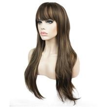 Strong beauty perruque longue synthétique pour femmes, postiche longue, cheveux couches lisses bruns foncés avec reflets blonds, sans carpe