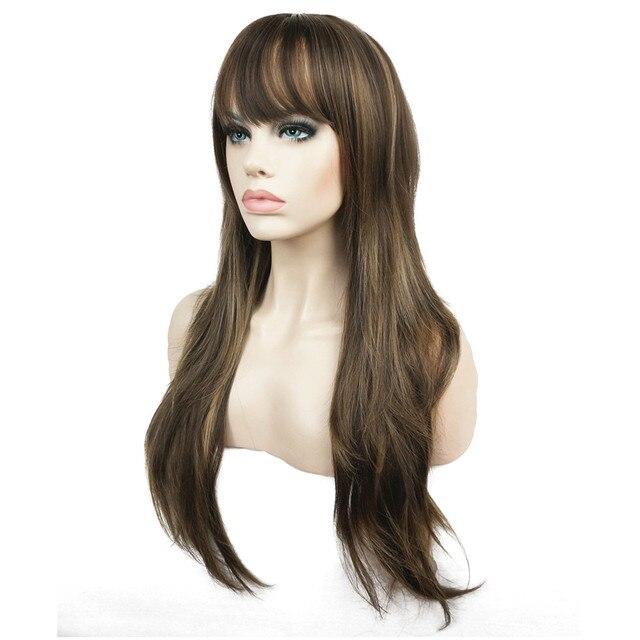 Strongbeauty女性の合成ロングかつらレイヤードストレート髪ダークブラウンブロンドのハイライトとキャップレスかつら
