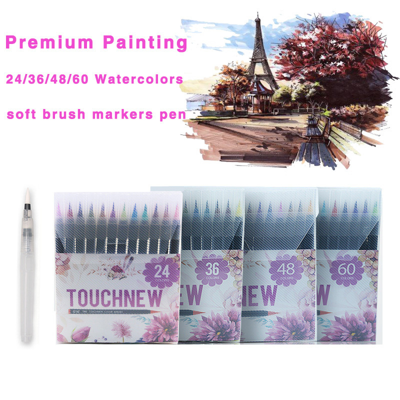 Touchnew 24/36/48/60 Colors Premium Soft Watercolor Brush Marker Art Markers Pen Set For Drawing Manga Comic Painting Supplies bianyo 20 colors artist sketch marker pen set for school student drawing painting brush pen watercolor manga marker art supplies