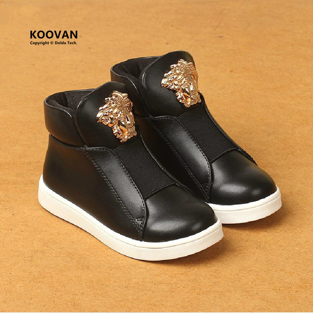 Koovan Children Sneakers 2017 Fashion Leather Boots Girls Rivet  Ankle Boots BOYS Dance Shoes Kids Children's Sports Shoes Gold