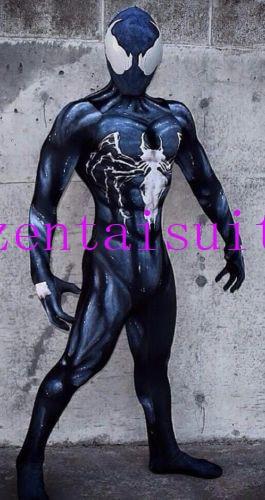 Venom Symbiote Spiderman Costume Cosplay Halloween Zentai Suit Black