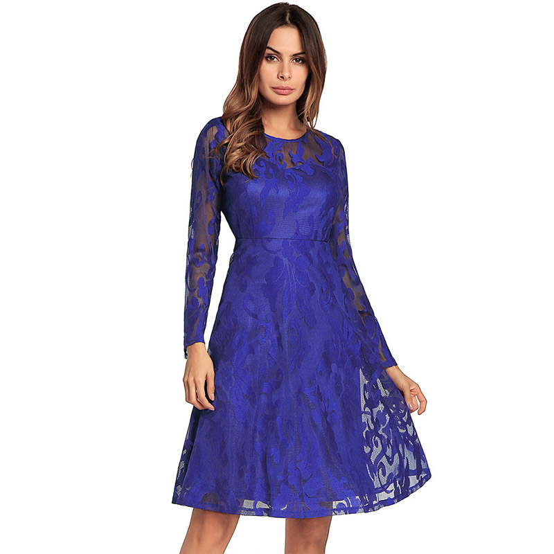 Women See Through Lace Dress Chic Spring Summer Party Long Sleeve Dresses  Floral Layered Mesh Frock-in Dresses from Women s Clothing on  Aliexpress.com ... 7d0685d7a49d