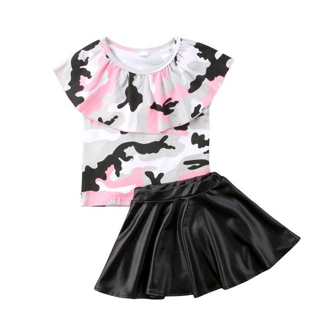 7c3df8e5de3c 1 6Y Fashion Kid Baby Girls Clothes 2pcs Set Camo Tops T shirts + PU ...