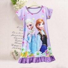 Disney халат принцессы Летняя женская пижама Детские ночные рубашки для девочек с изображением Эльзы из мультфильма «Холодное сердце» Детское платье одежда для дома, ночная рубашка, пижамы, Топ
