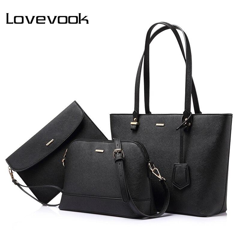 LOVEVOOK сумка женская большая на плечо маленькая сумочка через плечо для девочек и женщины набор сумок 3 шт./компл. зажим для денег и мелочи для ...