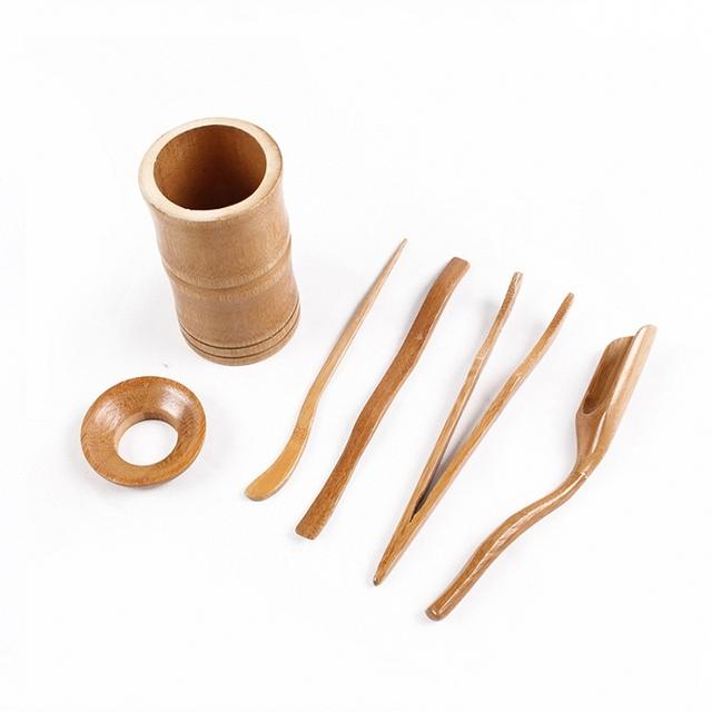 6PCS Japanese Tea Ceremony Accessories Bamboo Puer Matcha Ku Tea Cutter Clip Funnel Needle Spoon Set