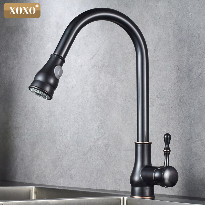 XOXO Kitchen Faucet Brass Brushed Nickel High Arch Kitchen Sink Faucet Pull Out 360 degrees Rotation Spray Mixer Tap 83014 brushed nickel kitchen faucet high arch kitchen sink faucet hot cold crane pull out rotation stream spray mixer tap deck mounted