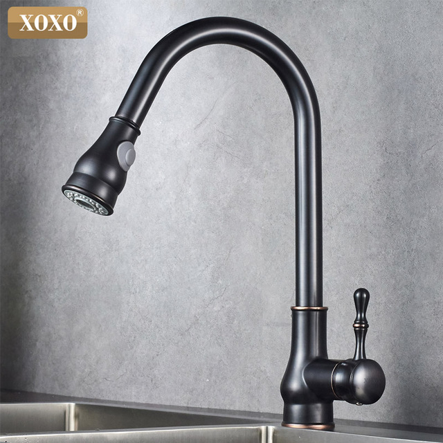 XOXO Kitchen Faucet Brass Brushed Nickel High Arch Kitchen Sink Faucet Pull  Out 360 Degrees Rotation
